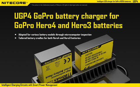 NITECORE UGP4 DIGITAL CHARGER FOR GOPRO HERO3 AND HERO4 BATTERIES