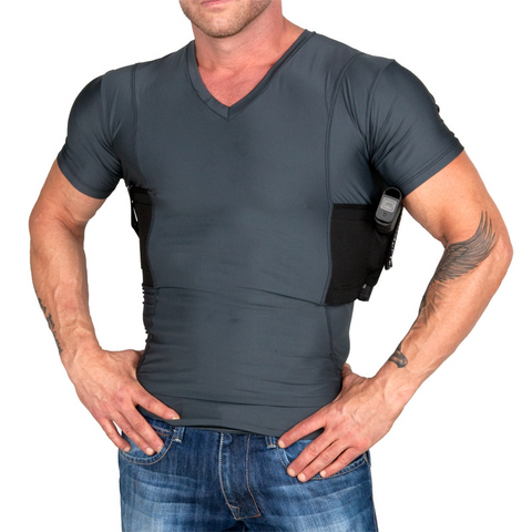 Men's Concealed Carry V-Neck Single Shirt UTUC