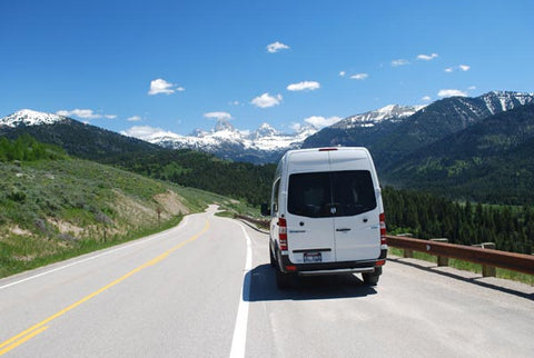 Campervan from Campervan North America on the road near Yellowstone National Park