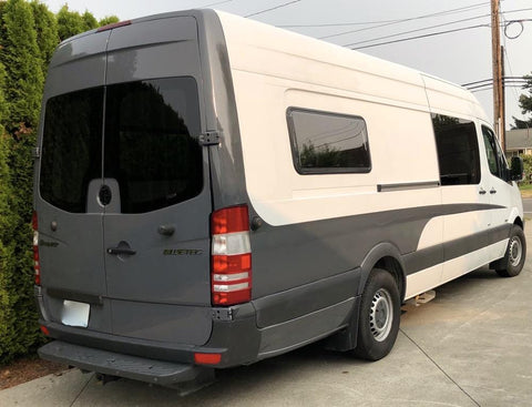 Double-Pane RV Window (450x1100mm) on Sprinter Van - Campervan HQ