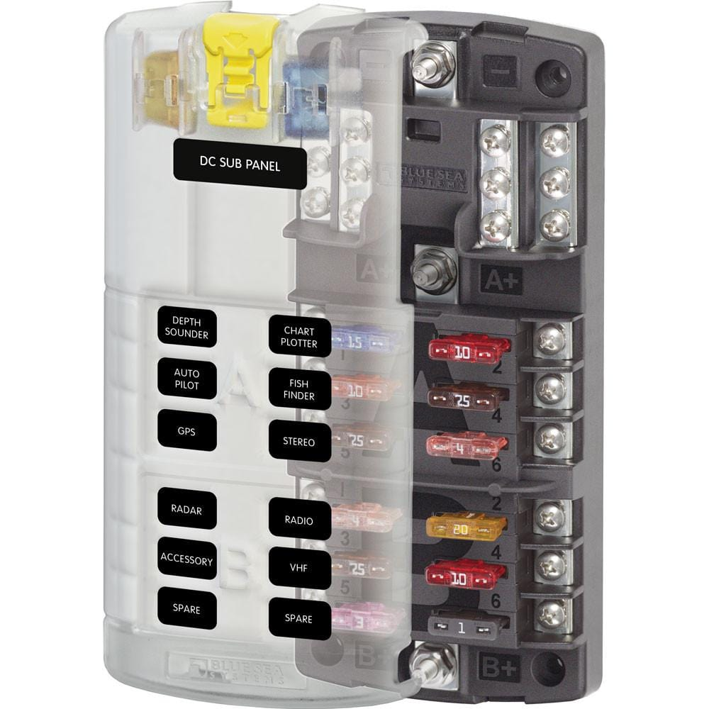 Blue Sea 40 ST Blade Fuse Block with Cover 40 Circuit with out ...