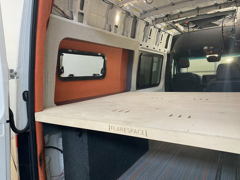 "Bed System for Flares, Mercedes Sprinter (144""WB) Installation - Campervan HQ"
