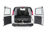 Decked Drawer System for Chevy Express/GMC Savana Cargo Van Rear View Opened Doors - Campervan HQ