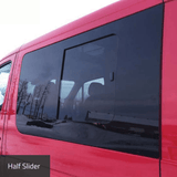Sprinter Driver Side Forward Half-Slider Window Left Side View - Campervan HQ