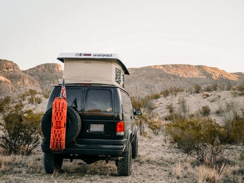 Ford E350 Van Tire Rack (2008-2014) Rear View - Campervan HQ