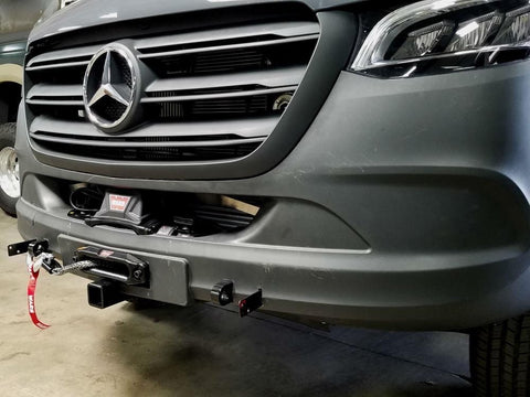 Mercedes Sprinter Winch Mount/Front Receiver Hitch (2019+) ( Left Close up of Winch Mount Receiver) -Campervan HQ