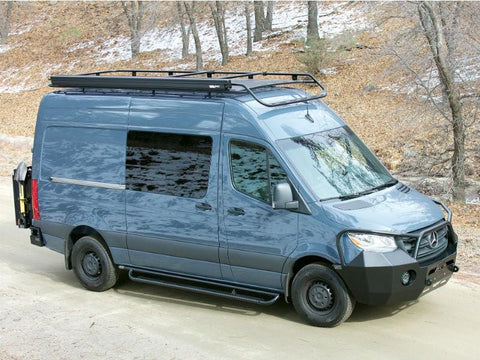 "Mercedes Sprinter Nerf Bars for Sprinter 144""WB Van (with Tread Plates, Passenger Side View) - Campervan HQ"