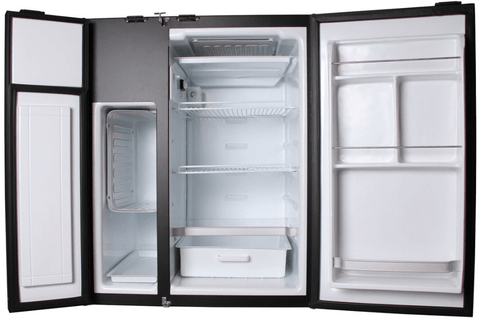 Nova Kool RFS7501 RV Refrigerator (Front View, Door Open)-Campervan HQ