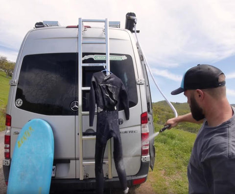 RoadShower Portable Shower On Mercedes Sprinter Campervan Cleaning Wetsuit