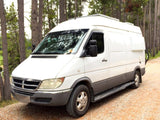 "Mercedes Sprinter (2004-2006) Campervan Body Flares on 140""WB Van, Driver Side Front View - Campervan HQ"