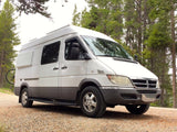 "Mercedes Sprinter (2004-2006) Campervan Body Flares on 140""WB Van, Passenger Side Front View - Campervan HQ"