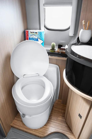 Thetford C223CS Cassette Toilet (in RV bathroom) - Campervan HQ