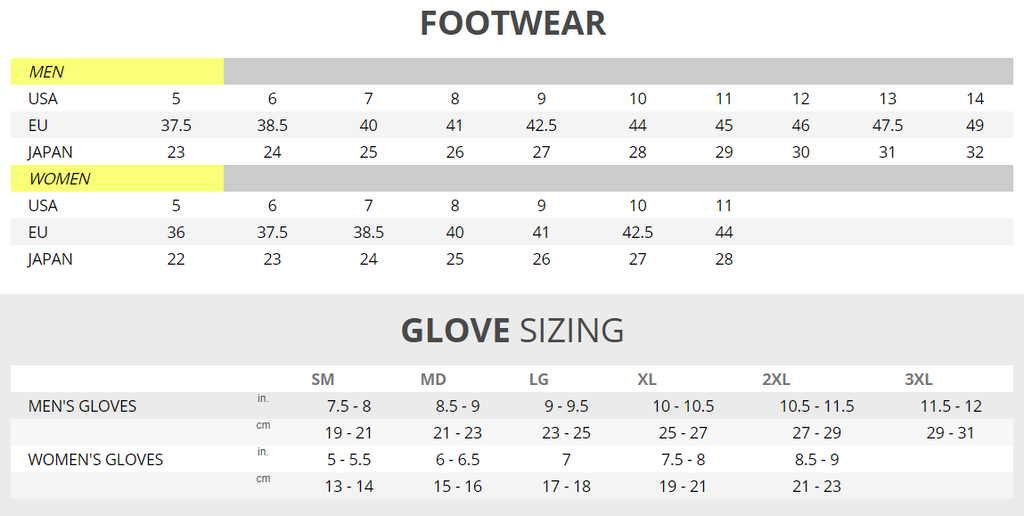 Klim foot and glove size chart