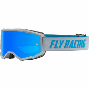 Fly Racing Zone Youth Goggle 21 Fly Racing 2021 Grey/Blue W/Sky Blue Mirror/Smoke Lens W/Post 21