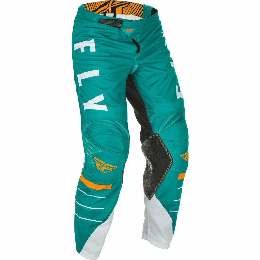 Fly Racing Youth Kinetic Mesh Pants Fly Racing Off-Road White/Teal/Orange 23