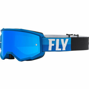 Fly Racing Zone Youth Goggle 21 Fly Racing 2021 Blue/Black W/Sky Blue Mirror/Smoke Lens W/Post 21