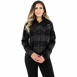 FXR Timber Hooded Flannel Women's Shirt 21 Casual FXR Char/Black XS