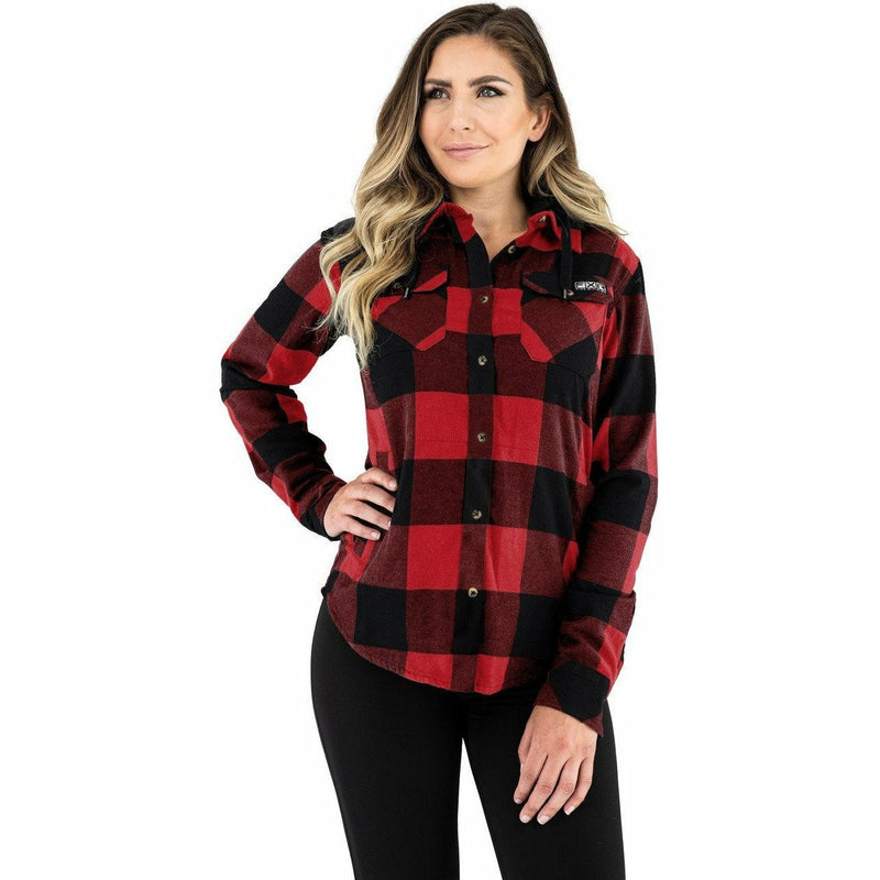 FXR Timber Hooded Flannel Women's Shirt 21 Casual FXR Rust/Black XS