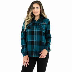 FXR Timber Hooded Flannel Women's Shirt 21 Casual FXR Ocean/Black XS