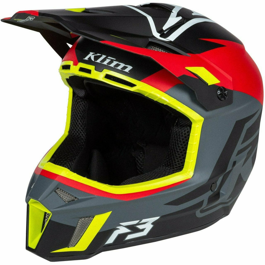 Klim F3 Helmet ECE - New Helmet Klim F3 Helmet ECE SM Tectonic High Risk Red