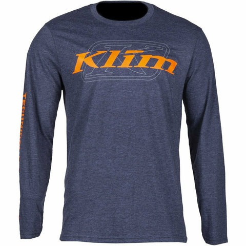 Klim K Corp LS T - New T-Shirt Klim K Corp LS T SM Heathered Navy - Strike Orange