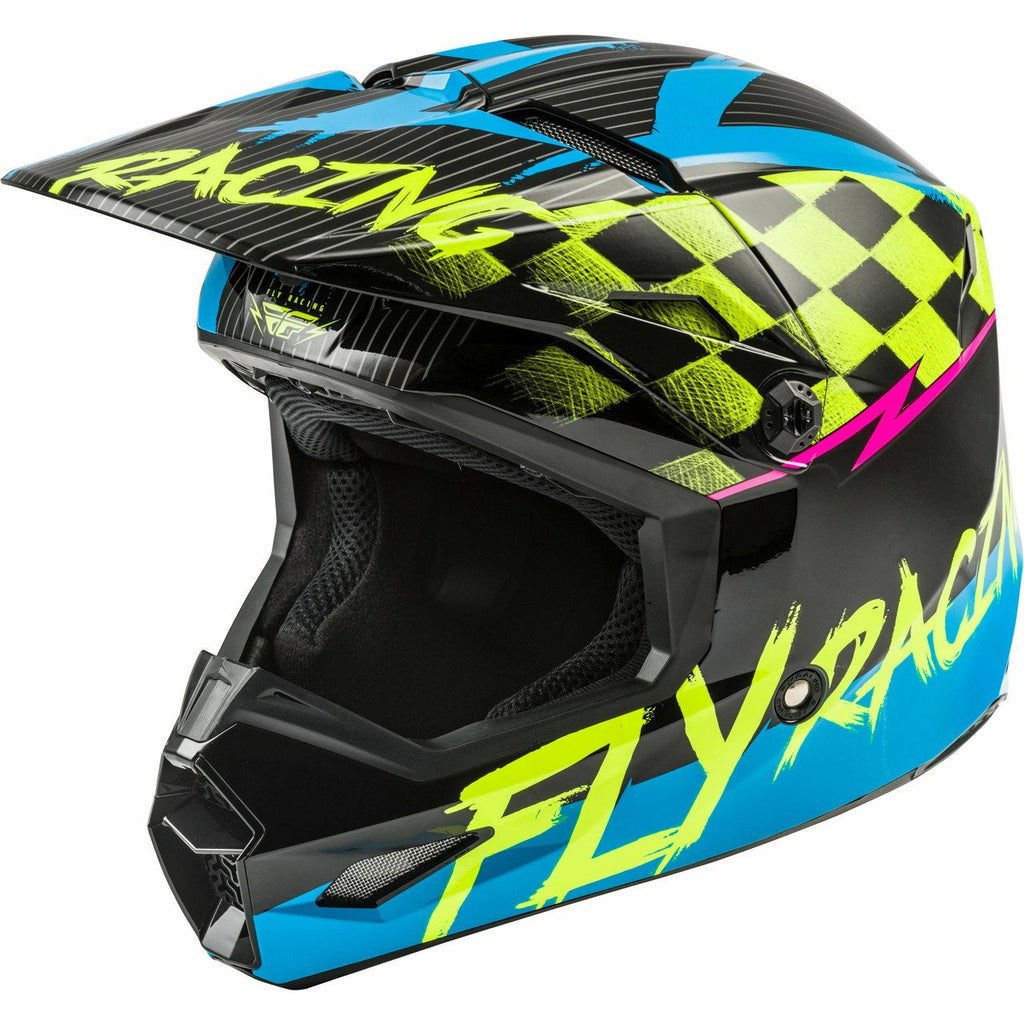 Fly Racing Youth Kinetic Sketch Helmet 2020 Helmet Fly Racing BLUE/HI-VIS/BLACK/PINK YL