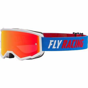 Fly Racing Zone Youth Goggle 21 Fly Racing 2021 Blue/White/Red W/Red Mirror/Smoke Lens W/Post 21