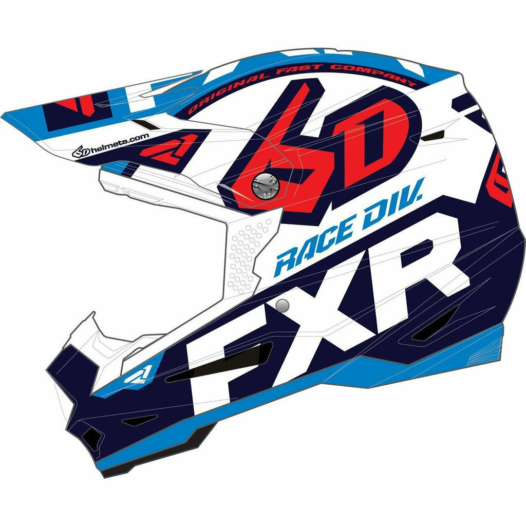 FXR 6D ATR-2Y Youth Helmet Helmet FXR Wht/Navy/Blue/Nuke Red S