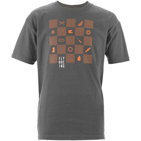 Fly Racing Youth Checkers Tee T-Shirt Fly Racing CHARCOAL YL