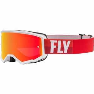Fly Racing Zone Youth Goggle 21 Fly Racing 2021 White/Red W/Red Mirror/Brown Lens W/Post 21