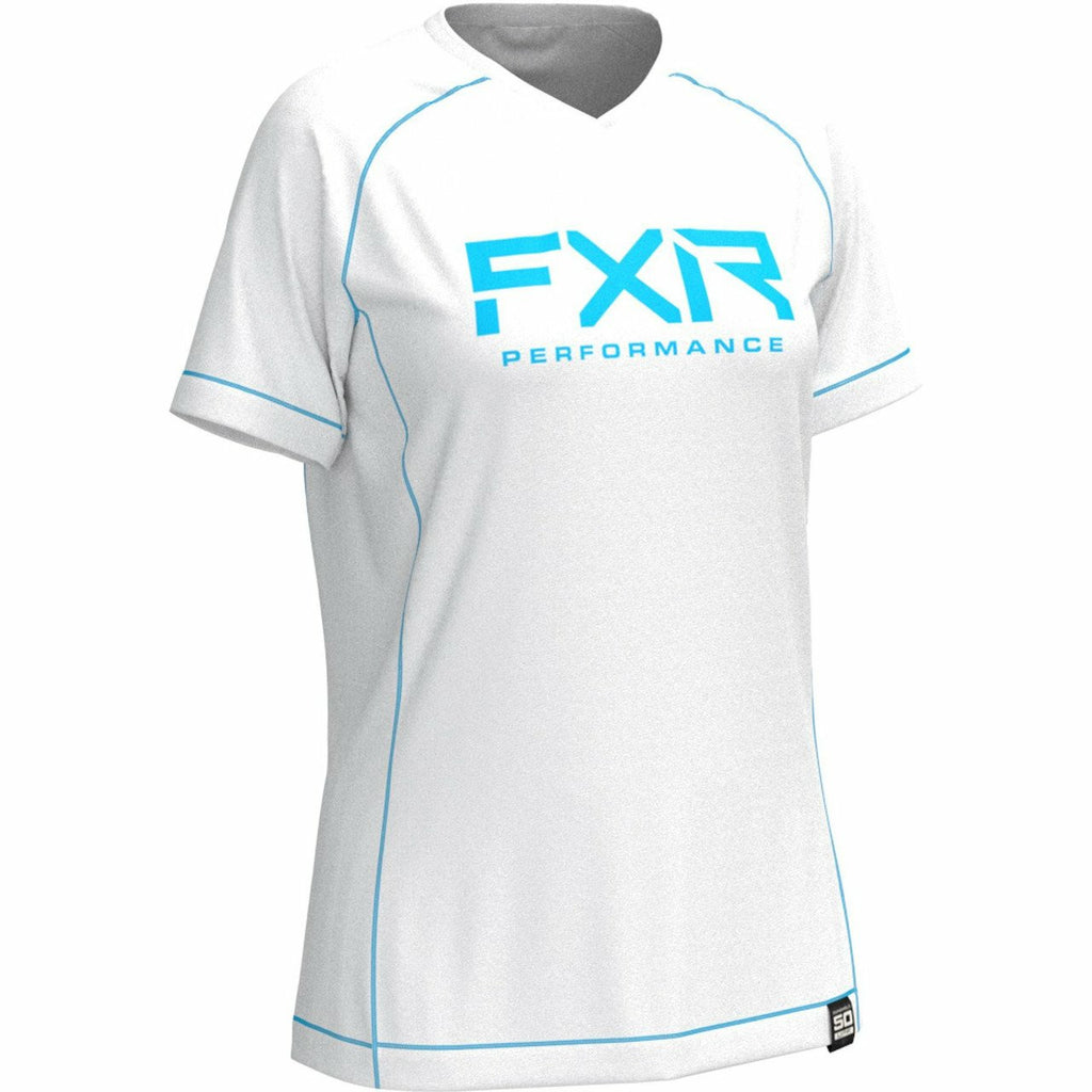 FXR W Attack UPF T-Shirt Casual FXR White/Sky Blue XS