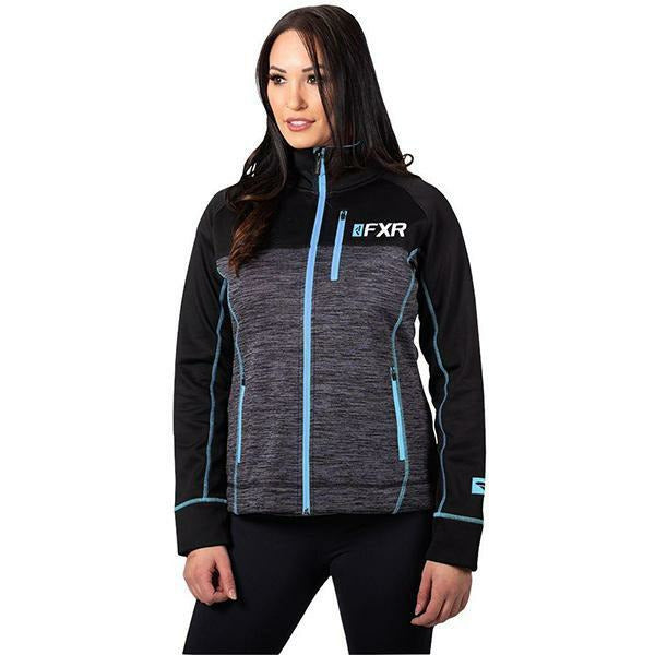 FXR Elevation Woman's Tech Zip-up 2020 Casual FXR Char Heather/Sky Blue XS