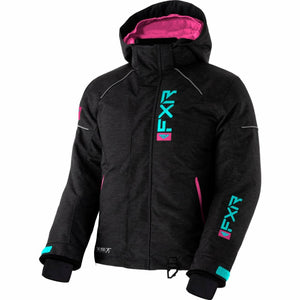FXR Fresh Child's Jacket 21 FXR 2021 Char Heather/Sky Blue/ Elec Pink 2