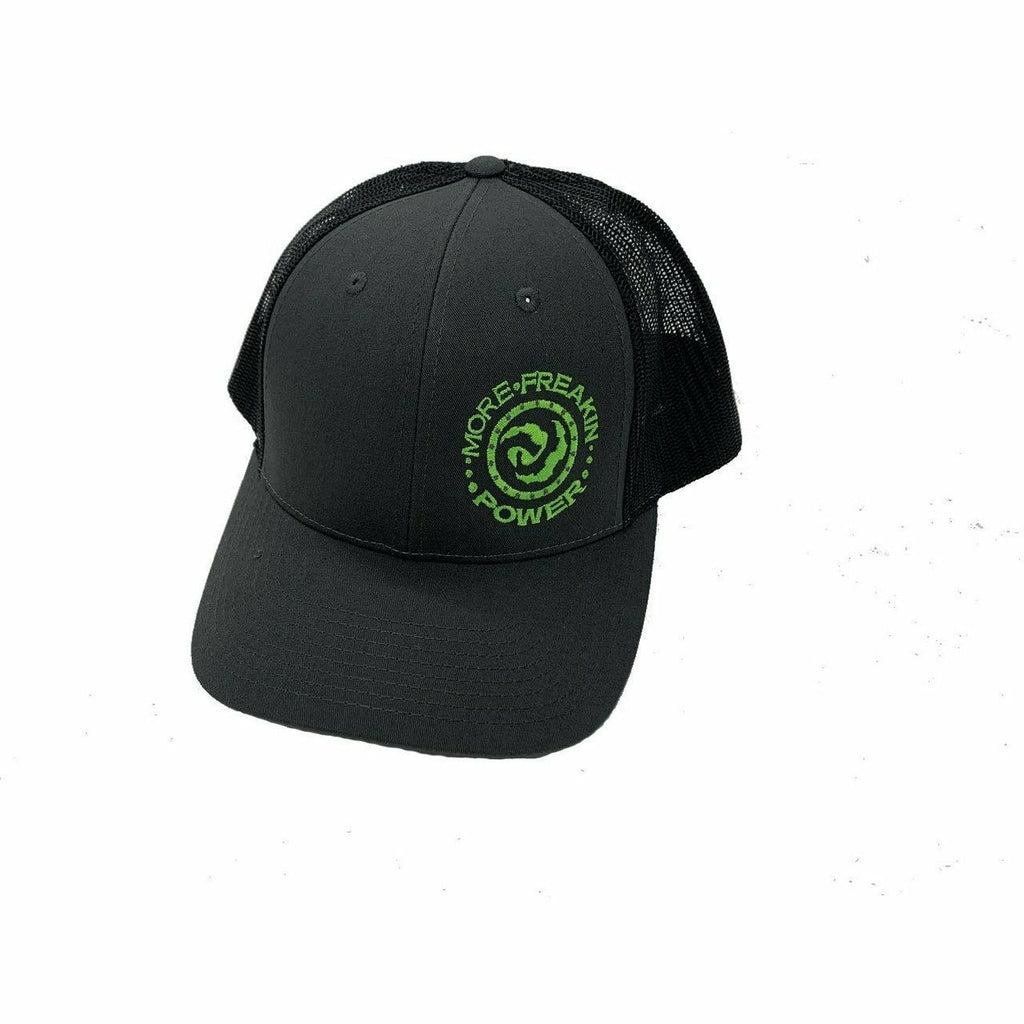 More Freakin Power Embroidered Snap Back Hat Hat MoreFreakinPower Black-Green Logo