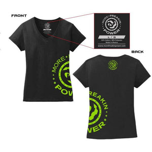 More Freakin Power Ladies V-Neck T-Shirt MoreFreakinPower Lime Small