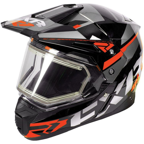FXR FX-1 Team Helmet- Electric Shield Helmet FXR Black/Orange/Charcoal Small