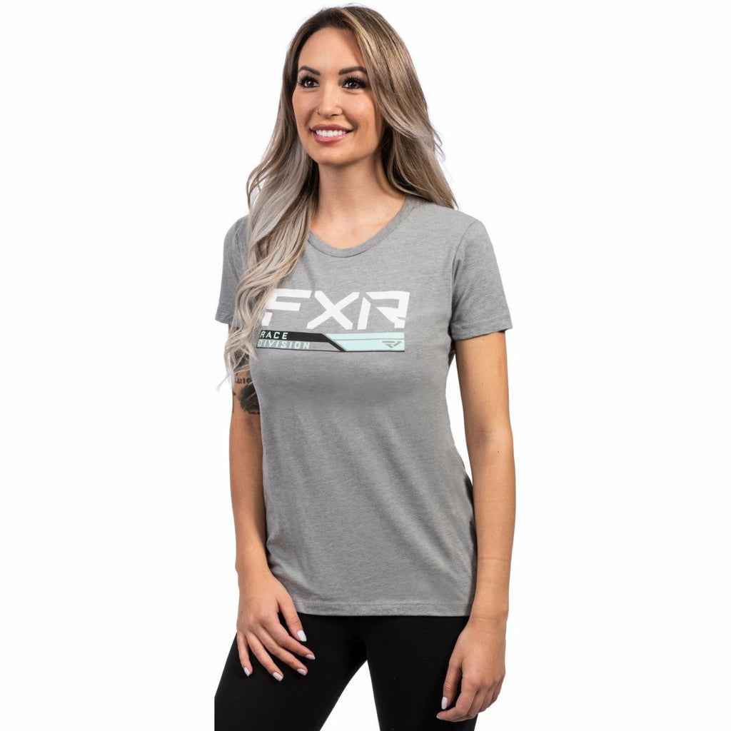 FXR W Race Division T-Shirt FXR Spring 2021 Grey Heather/Seafoam XS