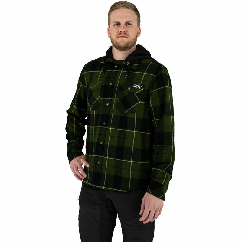 FXR Timber Hooded Men's Flannel Shirt 21 FXR 2021 Army Green/Khaki S