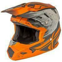 FLY RACING TOXIN RESIN HELMET MoreFreakinPower Youth Small MATTE ORANGE/KHAKI