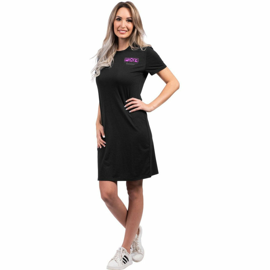 FXR W Track Tech T-Shirt Dress FXR Spring 2021 Black/Elec Pink XS