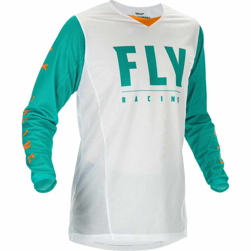 Fly Racing Youth Kinetic Mesh Jersey Fly Racing Off-Road White/Teal/Orange YX