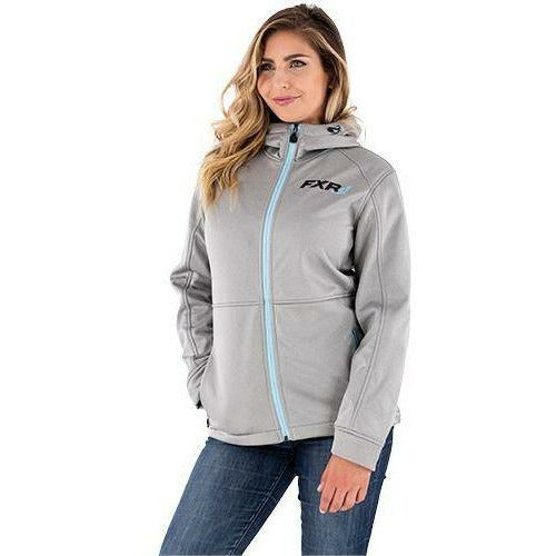 FXR Ridge Women's Softshell Hoodie Jacket FXR LT. GREY HEATHER/SKY BLUE XS