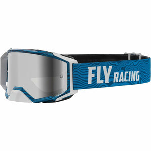 Fly Racing Zone Pro Goggle 21 Fly Racing 2021 Blue/White W/Silver Mirror/Smoke Lens W/Post 21