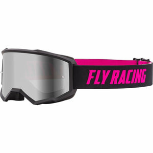 Fly Racing Zone Youth Goggle 21 Fly Racing 2021 Black/Pink W/Silver Mirror/Smoke Lens W/Post 21
