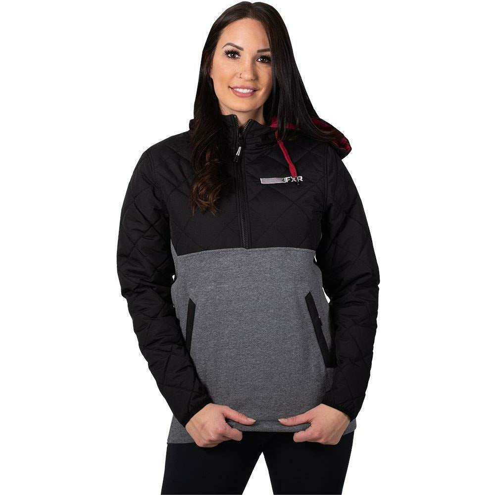 FXR Tracker Quilted Women's Hoodie 2020 Hoodie FXR 2020 Grey Heather/Maroon XS