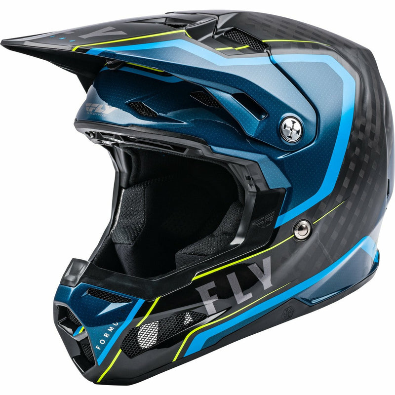 Fly Racing Youth Formula Carbon Axon Helmet 21 Fly Racing 2021 BLACK/BLUE/HI-Vis YL