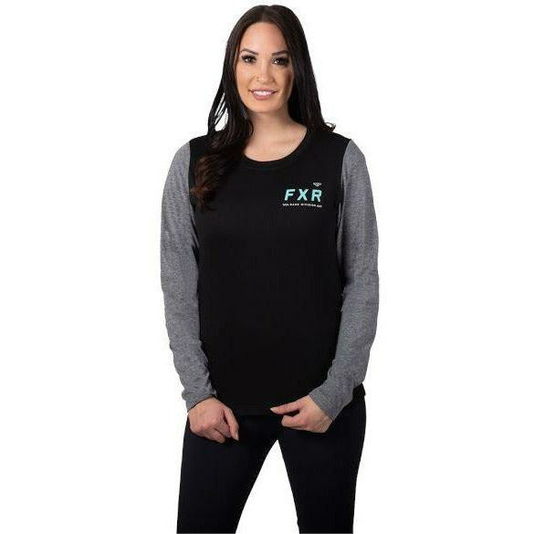 FXR Evo Tech Womens Longsleeve T-Shirt FXR Black/Mint XS
