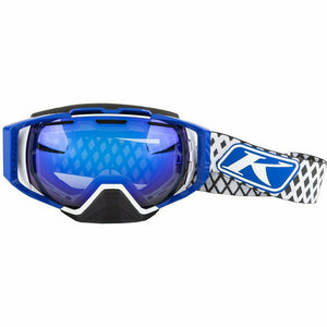 Klim Oculus Goggle Goggles Klim Diamond Fade White Smoke Blue Mirror and Clear Lens