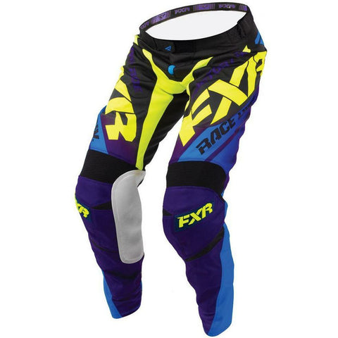 FXR MISSION MX PANT 18 Pants & Bibs FXR BLACK/CYAN/HI-VIS/PURPLE 30