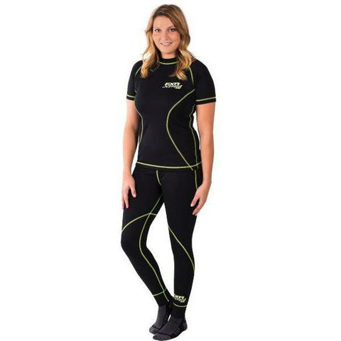 FXR Vapour 20% Merino Womens SS Top | Clearance Layers FXR Blk/HiVis L